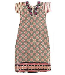 Embroidered Neckline with Red and Black Stripe on Beige Cotton Maxi