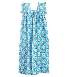 White Print on Blue Cotton Maxi