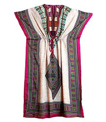 Multicolor Print on Off-White Viscose Kaftan