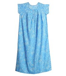 White Floral Print on Light Blue Lizzy Bizzy Maxi