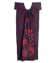 Red Stripe with Floral Print on Maroon Cotton Maxi
