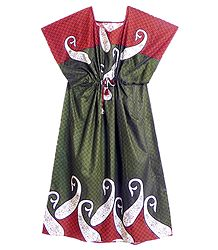 White Paisley Print on Green and Red Cotton Kaftan