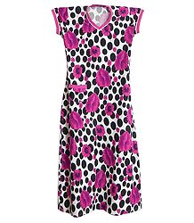 Black Polka Dots with Magenta Floral Print on White Lycra Cotton Maxi