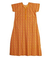 Yellow with White Print on Cotton Maxi