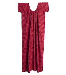 Print on Dark Red Cotton Maxi