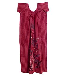 Black Stripe with Floral Print on Dark Red Cotton Maxi