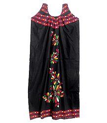 Printed Black Sleeveless Cotton Maxi