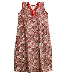 Red,Ivory and Brown Print on Cotton Maxi