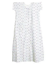 Multicolor Polka Dot Print on White Cotton Maxi