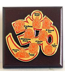 Ashta Vinayaka with Om on Wooden Panel with Names
