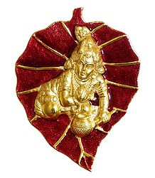 Golden Bal Gopal on Red Leaf - White Metal Wall Hanging