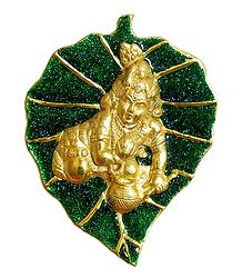Bal Gopal on Green Leaf - Metal Sculpture