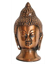 Face of Buddha - Black Metal Statue