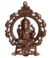 Ganesha on Throne - Metal Wall Hanging