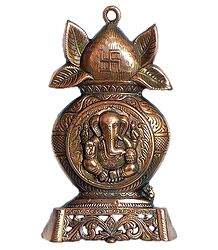 Ganesha on Kalash - Wall Hanging Cum Stand