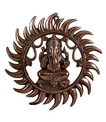 Lord Ganesha - Black Metal Statue
