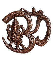 Ganesha Sitting on Om - Metal Wall Hanging