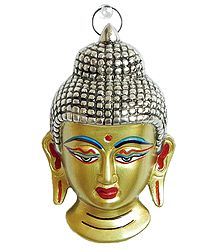 White Metal Face of Buddha - Wall Hanging