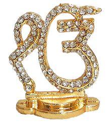 Stone Studded and Gold Plated Ek Omkara - Metal Sikh Symbol