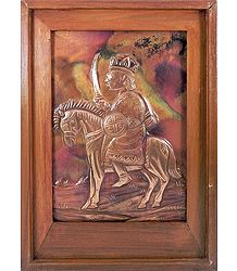 Soldier on a Horse - Embossed Copper Artwork