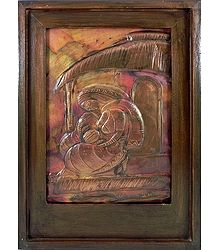 Mother and Child - Embossed Copper Artwork