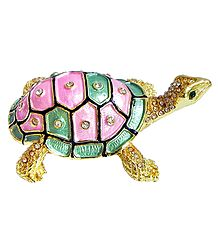 Feng Shui Bejeweled and Gold Plated Tortoise for Good Health and Longevity