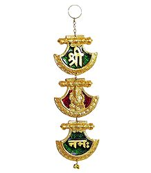Sri, Ganeshai and Namaha on Lacquered Brass Plate - Wall Hanging