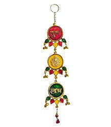 Ganesha and Shubh Labh on Lacquered Brass Plate - Wall Hanging