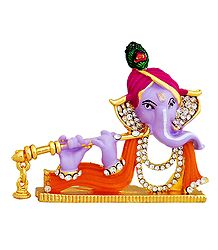 Stone Studded Ganesha Playing Flute - For Car Dashboard