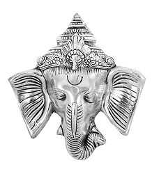 White Metal Ganesha Face - Wall Hanging