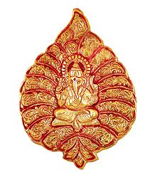 Ganesha on Red Leaf - Metal Sculpture