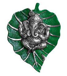 White Metal Ganesha on Green Leaf - Wall Hanging