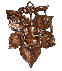 Ganesha on Leaf - Metal Wall Hanging