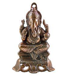 Ganesha on Throne - Wall Hanging-Cum-Stand