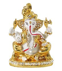 Buy Stone Studded Metal White Ganesha