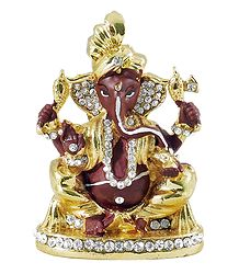 Stone Studded Brown Ganesha - For Car Dashboard