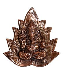 Ganesha on Lotus - Metal Wall Hanging