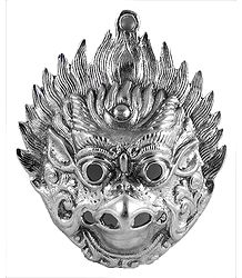 White Metal Garuda Mask for Wall Decoration - Metal Statue