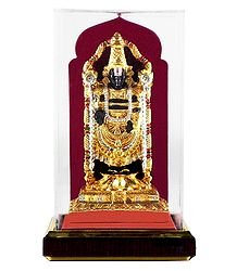 Gold Plated Metal Balaji - Encased in Acrylic Box
