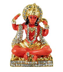 Stone Studded Saffron Hanuman - For Car Dashboard