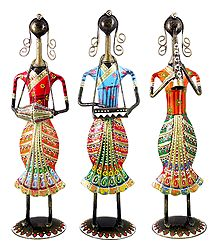 Set of 3 Women Musicians - Iron Statue