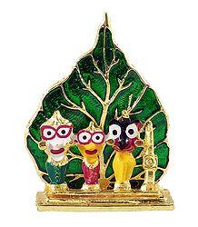 Jagannath, Balaram, Subhadra in Front of Leaf