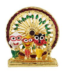 Jagannath, Balaram, Subhadra in Front of Wheel