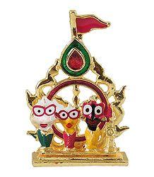 Jagannath, Balaram, Subhadra in Front of Chakra