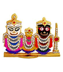 Stone Studded Jagannath, Balaram, Subhadra - For Car Dashboard