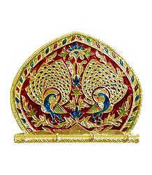 Meenakari Wooden Fan Key Rack - Wall Hanging