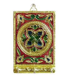 Meenakari Metal Foil Paper on Wooden Base with 3 Key Hooks - Wall Hanging