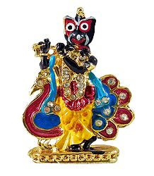 Krishna as Jagannath with Peacock - For Car Dashboard
