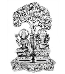 Lakshmi and Ganesha - White Metal Statue