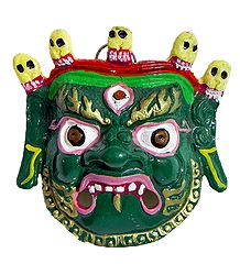 White Metal Wall Hanging Green Mahakala Face for Decoration